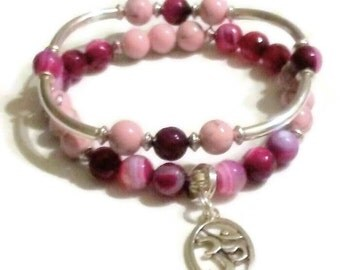 FREE GIFT with purchase Wine color striped Agate pink magnesite Namaste charm bracelet set