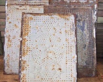 Punched metal tin panels from old Pie Cabinet Safe Star Stars White rusty