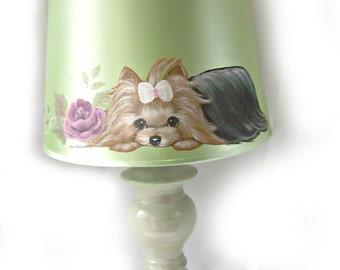 Lamp Shade or small Lamp Hand Painted Custom Breed Dog Art