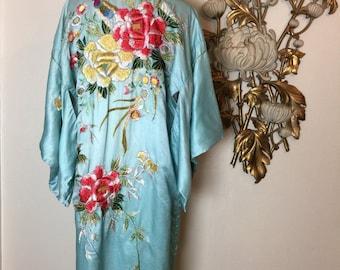 1930s dressing gown vintage robe silk kimono aqua kimono embroidered kimono 30s kimono