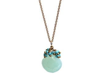 Chalcedony  Necklace/Turquoise Cluster/Drop Necklace/Green Gemstone/Gemstone Cluster/Chalcedony Jewelry/Gold Necklace/Pendant/Necklace