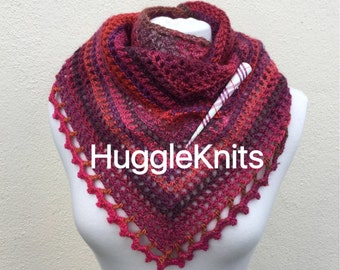 Autumn Fashion Rustic Wool Plum toned Shawlette with shawl pin for winter afternoons