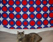 Mod 70s circle abstract Marimekko era cotton fabric red white and blue
