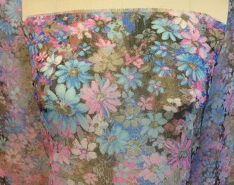 4 yards voile fabric VINTAGE 70s FABRIC wedding semi-sheer dance fabric