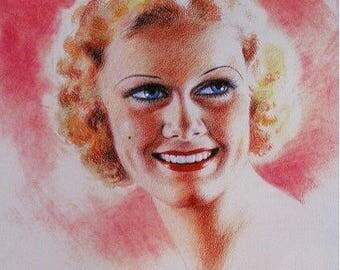 Jean HARLOW Original 30s ZOE MOZERT New Giclee Print Art Deco Movie Magazine Pin Up Calendar Illustration Pinup Painting Golden Age Pinups