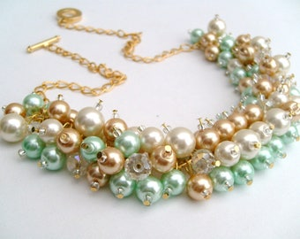 Set of 7 Chunky Pearl Necklaces, Mint Green Gold and Ivory, Bridesmaid Jewelry, Cluster Necklace, Bridesmaid Gift, Bridal, Mint Wedding