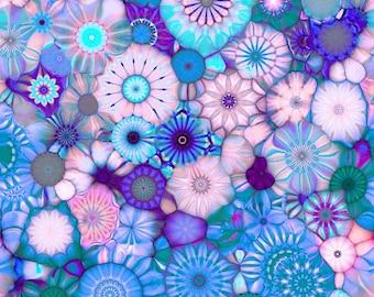 Designer Artist Created Lycra  Knit Fabric Blue Pink Kaleidoscope Athletic Dance Swimwear Swim Suit