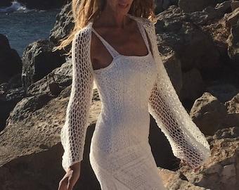 Ivory white shrug, loose knit, wide sleeve, long sleeve shrug
