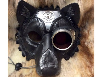 READY TO SHIP Steampunk Wolf Leather Mask...  handmade mask masquerade mardi gras steampunk goggles halloween burning man costume