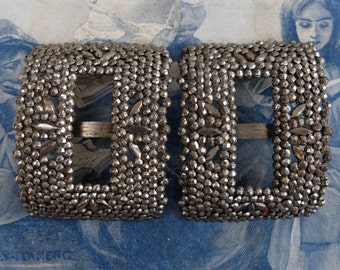 Antique Shoe Buckle Faceted Cut Steel Pair Paris French Buckles