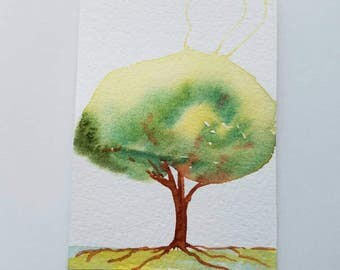 ACEO Round Tree, Original Painting, Watercolor, Electric Tree, Mini Tree Art, Friend Gift, Collage Element, Niche Art, Optional Easel, Cute