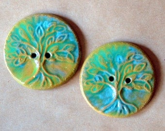 2 Handmade Ceramic Buttons in Rustic Green - Extra Large Tree of Life Buttons - Focal buttons for Handmade Knits - Handmade Ceramic Buttons