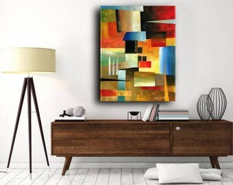 Original Painting, Acrylic Painting on Canvas, large Art, Abstract Art, Contemporary Art, Modern Art, Red Art, Blue Art, Colorful Painting