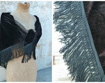 Vintage Antique Victorian French capelet scarf shawl black velvet  and fringes