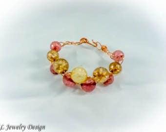 Big Bead Braided Copper Bracelet