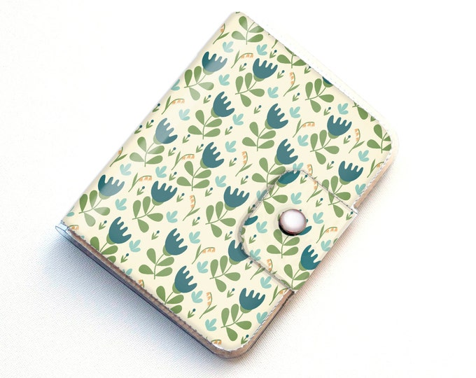 Vinyl Passport Case - Scandinavian Summer3/ traveller, floral, blue, flowers, folk, folksy, passport, vinyl, gift, woman's, wallet, case