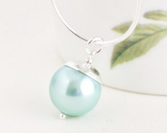 Mothers Day Gift,  Gift For Women, Pearl Pendant Necklace, Aqua Necklace, Sterling Silver, Gift for Wife, Elegant Necklace, Simple Jewelry