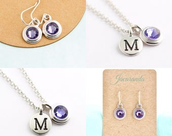 Gift Set, Birthstone Necklace, Initial Necklace, Matching Set, Birthday Gift, For Daughter, Birth Month, Jewelry Gift Set