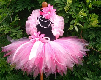 Pink Tutu Flower Girl Tutu Outfit for Weddings, Pink Tulle Tutu Skirt, Ruffle Shrug, Headband, and Pearl Necklace