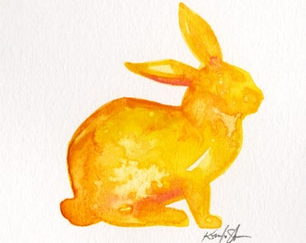 Yellow Bunny Painting, watercolor art, Rabbit Watercolor Painting Easter Minimalist Abstract art Kathy Morton Stanion