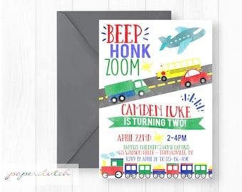 Transportation Birthday Invitation - Trains Planes Automobiles Party - Car and Truck Invite - Transportation Birthday Party - Watercolor