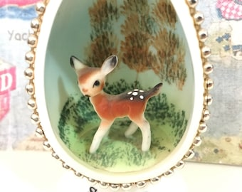 RARE Vintage Antique Bone China Egg with Miniature Deer Diorama Collectible or Cake Toppers