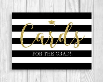 Graduation Party 5x7 Printable Sign - Cards for the Grad - 2017 - College or High School - Black, White and Gold Glitter - Instant Download