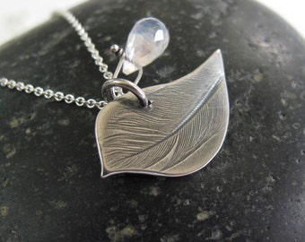 Little bird Necklace with feather imprint - sterling silver peace dove - gift for her - rustic patina