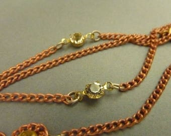 3 Vintage Copper and Rhinestone Necklaces - Complete (15 inches)
