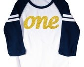 "Glitter Gold ""One"" First Birthday Long Sleeve Raglan T-shirt"
