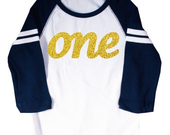 "Glitter Gold ""One"" First Birthday Shirt Long Sleeve Raglan 1st Birthday T-shirt"