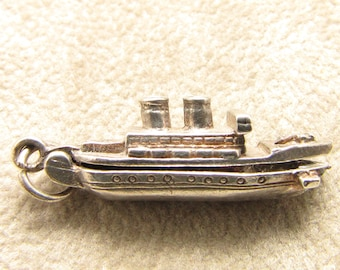 Silver ship charm - top opens