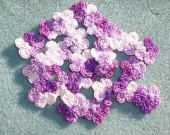 24 handmade shaded purple crochet applique flowers  -- 2560