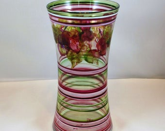 Hand Painted Glass Vase- Fruit and Leaves- Red White Green Stripes- Original Home Decor