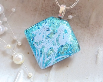 Light Blue Necklace, Aqua, Fused Glass Pendant, Floral Image, Dichroic Glass Jewelry, Necklace Included, A7