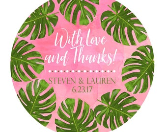 Palm Leaf Stickers,Tropical Leaf,Monstera,watercolor,Labels,Wedding Stickers,Wedding favor labels,Botanical Wedding,Tropical Wedding favors
