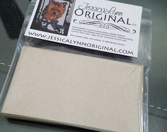 25 Brown Kraft paper business cards heavy quality rubber Stamp ready
