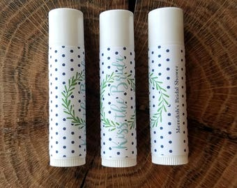 Personalized Lip Balm Stickers -- Wreath and Dots -- Custom Chapstick Labels, Shower Favors, Wedding Favors