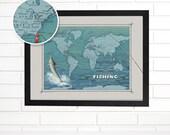 Push Pin Map, Personalized Reel Fishing World Pushpin Travel Map, Customized Marlin World Push Pin Wall Map Art