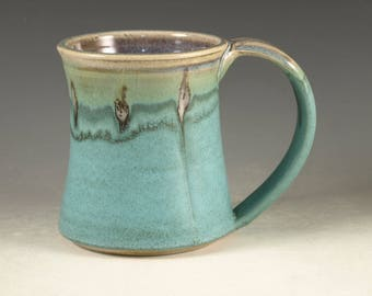 Coffee Mug Cup ,large ceramic handmade mugs with large Handle, turquoise,  wheel thown (20oz) -- Perfect Hot & Chocolate by Hodaka Hasebe