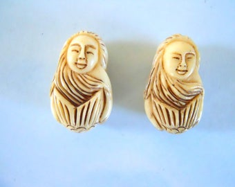 Pair Carved Bone Mermaid Beads #1