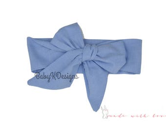 Chambray Head Wrap | Newborn Headband | Baby Headwrap Newborn Headband Bow Infant Toddler Girl Cotton DIY Headband Big Bow Turban Dress Sash