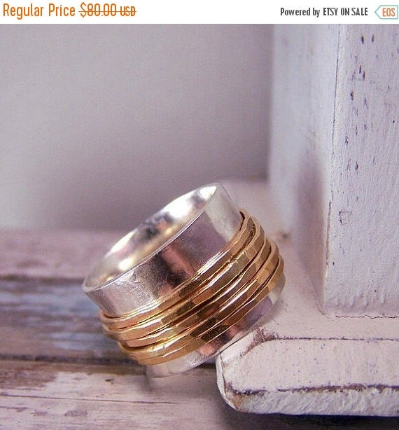 ON SALE Gold Sterling Silver Spinner - wide band ring SR115