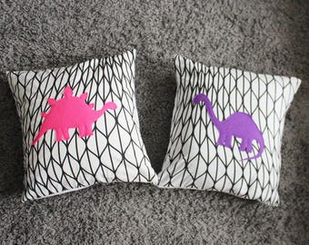 "Set of 2 Dinosaur Pillow Covers - Dinosaurs for Girls  - Stegosaurus Pillow Cover - Diplodocus Pillow Cover -  18"" x 18"" - Ready to ship"