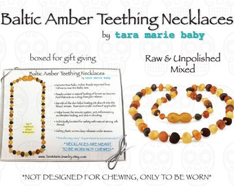 RAW Unpolished Mixed Multi colored Natural Baltic Amber Teething Necklace. 12.5 inch Safety-knotted with screw clasp. Gift Boxed.