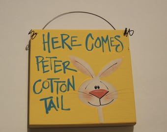 Handpainted Bunny Plaque on Wire with Hand Lettering