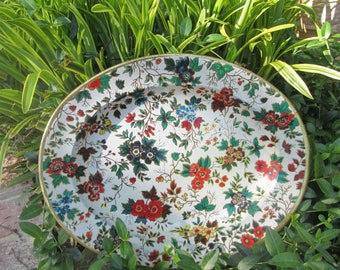 Vintage Tin Platter/ Tray - Colorful Floral Platter - Nevco - Made In Republic of South Africa