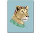 Lion Lady art print - Animal art - Nursery art - Nursery decor - Animals in Clothes - Children's art - Ryan Berkley Illustration 8x10