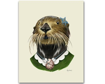 Sea Otter Lady art print - Animal art - Nursery art - Nursery decor - Animals in Clothes - Children's art - Ryan Berkley Illustration 5x7