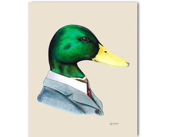 Mallard duck art print 8x10